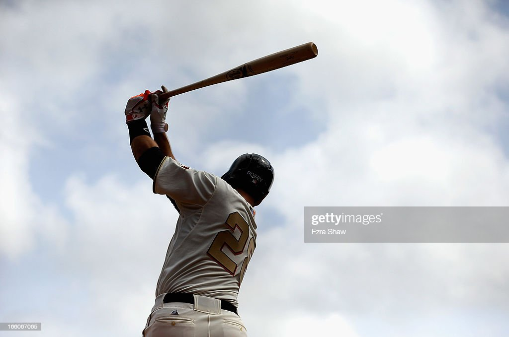 <a gi-track='captionPersonalityLinkClicked' href=/galleries/search?phrase=Buster+Posey&family=editorial&specificpeople=4896435 ng-click='$event.stopPropagation()'>Buster Posey</a> #28 of the San Francisco Giants stands on the on deck circle waiting to bat during their game against the St. Louis Cardinals at AT&T Park on April 7, 2013 in San Francisco, California.