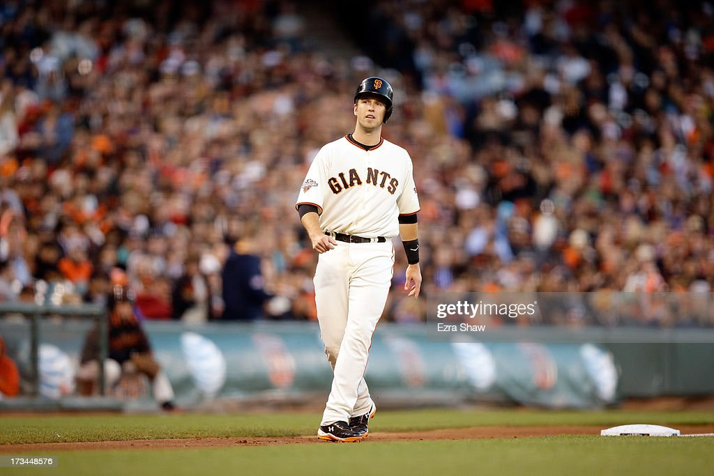 <a gi-track='captionPersonalityLinkClicked' href=/galleries/search?phrase=Buster+Posey&family=editorial&specificpeople=4896435 ng-click='$event.stopPropagation()'>Buster Posey</a> #28 of the San Francisco Giants takes a lead off of third base during their game against the New York Mets at AT&T Park on July 8, 2013 in San Francisco, California.