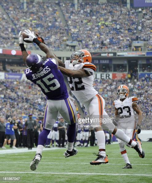 Buster Skrine of the Cleveland Browns breaks ups a touchdown pass intended for Greg Jennings of the Minnesota Vikings during the second quarter of...