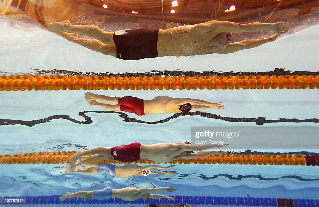 Buster Sykes, Nicholas Schafer and Justin Woolley of Australia competes in the Men's 200 Metre Breaststroke during day five of the Australian Swimming Championships at SA Aquatic and Leisure Centre on April 30, 2013 in Adelaide, Australia.