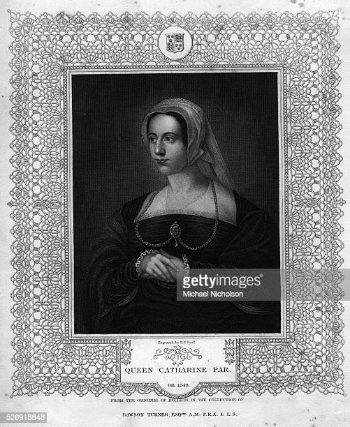 A bustlength portrait of English Queen Catherine Parr sixth consort of King Henry VIII
