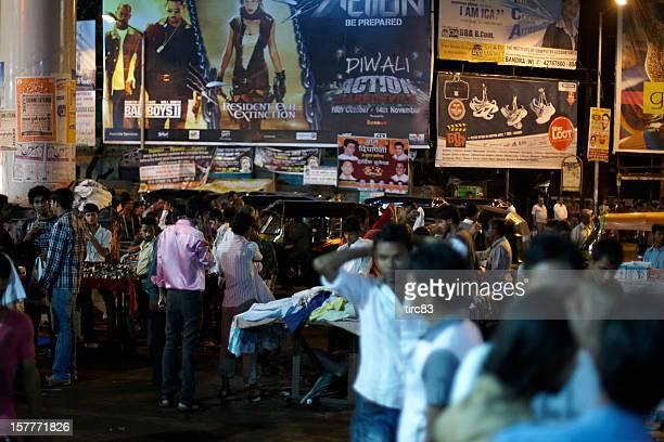 Bustling night time market at Bandra West, Mumbai, India
