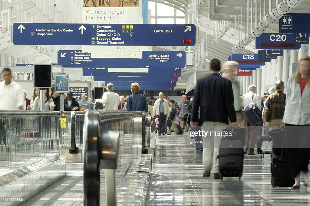 Busy airport travel day : Stock Photo
