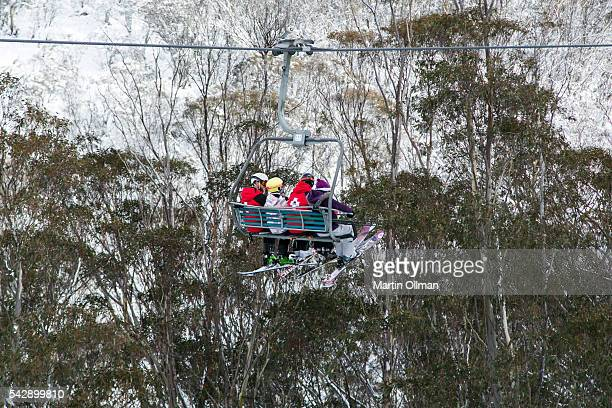 Busy chairlifts after fresh snowfall on the opening weekend of the season on June 25 2016 in Thredbo Village Australia Snow has been forecast across...