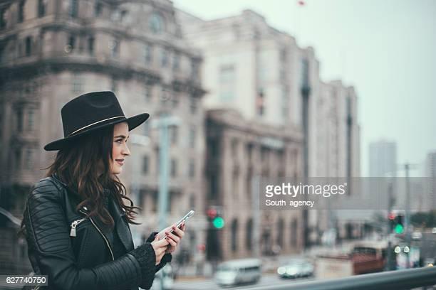 Busy city lady