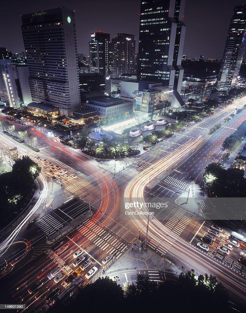 Busy crossing at Gangnam, Seoul, South-Korea