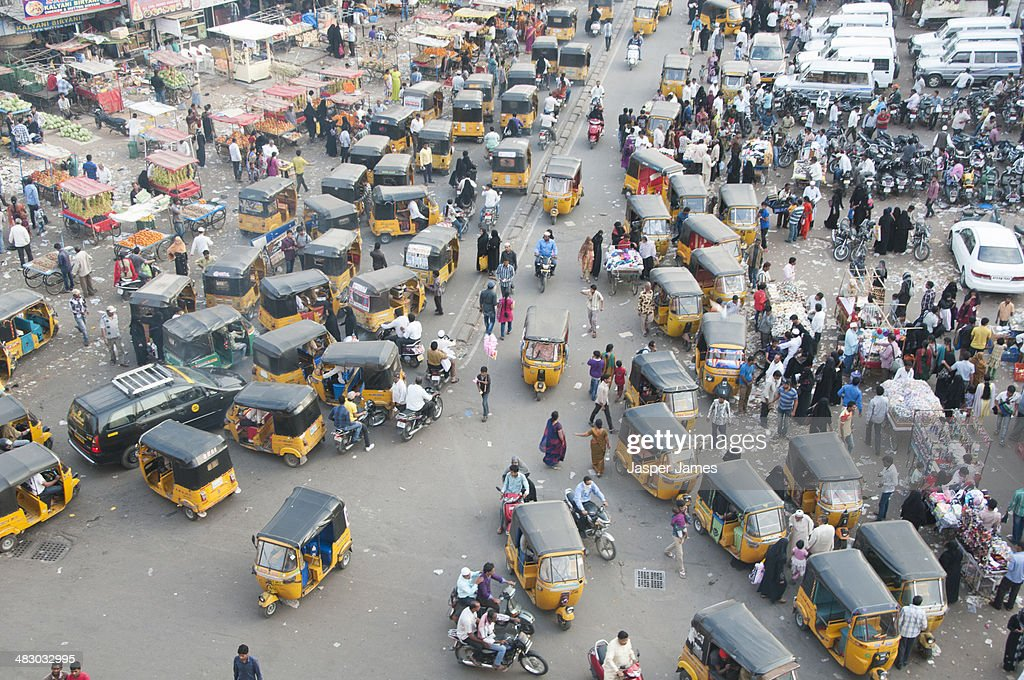Busy crowded street in Hyderabad,India