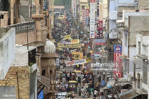 Busy crowded street scene Delhi