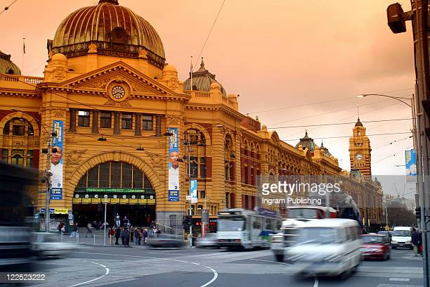 A busy day at Flinders Street Station. People rush about their business. August 2003