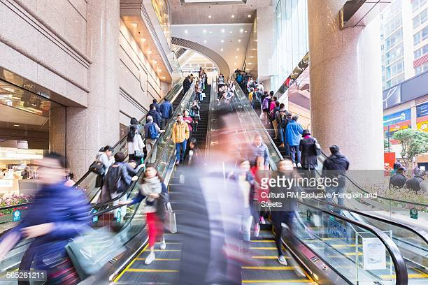 Busy escalators, Hong Kong, China