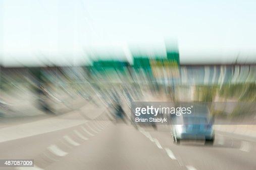 Busy freeway traffic in motion