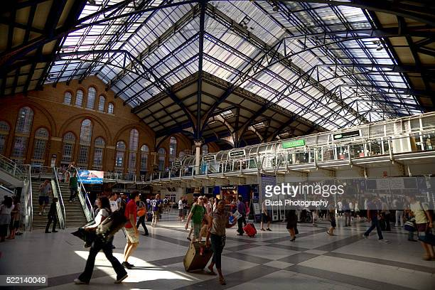 Busy hall of Liverpool Street Station, London