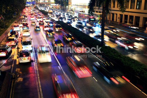Busy highway at night : Stock Photo
