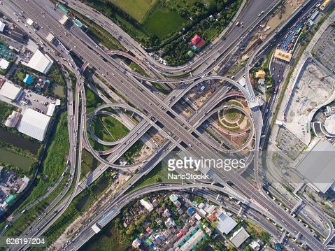 Busy highway junction from aerial view : Stock Photo