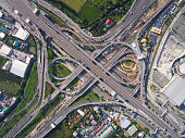 Aerial highway junction. Busy highway from aerial view. Highway shape like number 8 and infinity sign. Urban highway and lifestyle concept. Highway taken in the eastern highway of Bangkok Thailand.