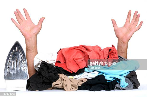 Busy House Husband Hands Raised and Clothes to Iron