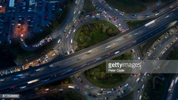 Busy motorway and ring road at night