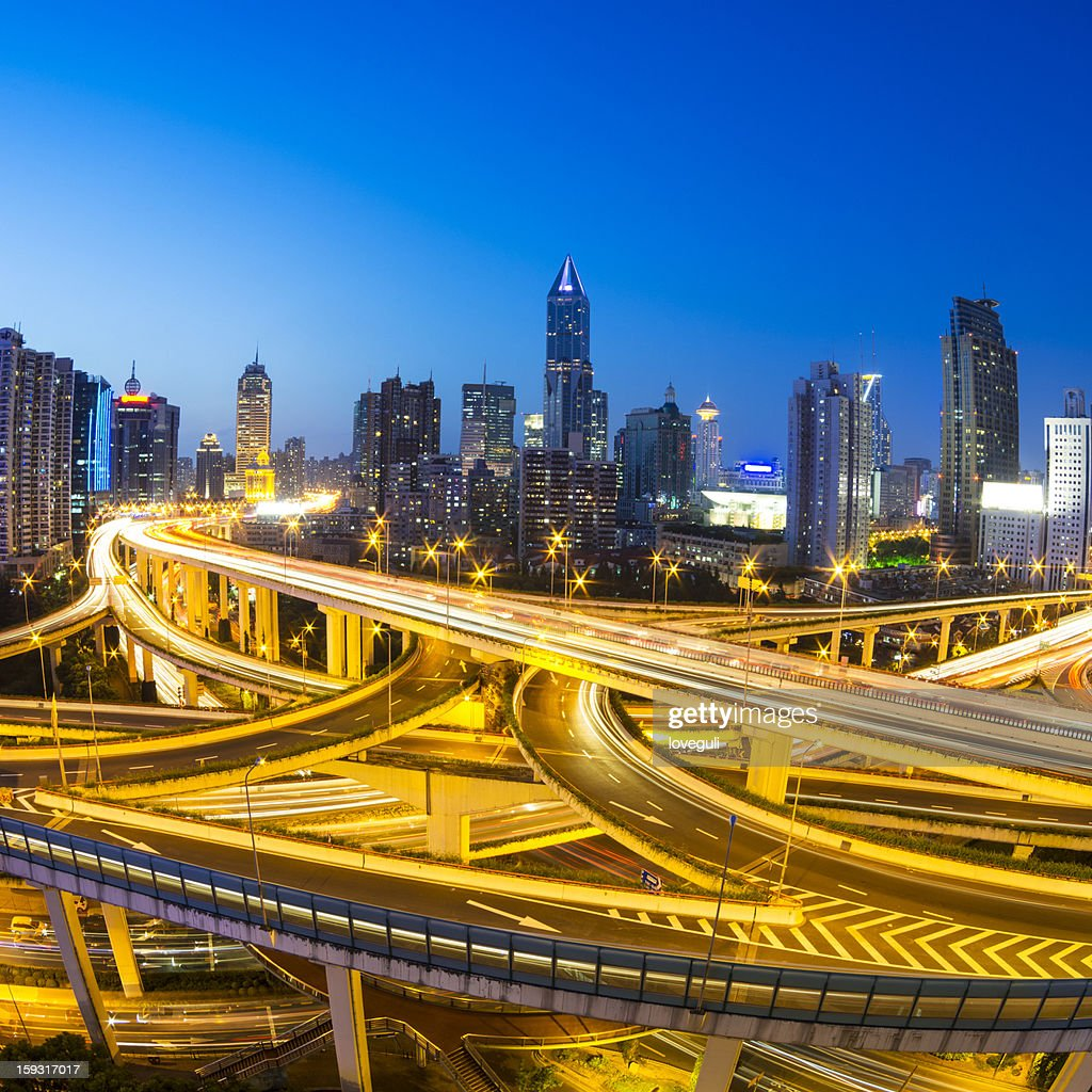 busy overpass in shanghai : Stock Photo
