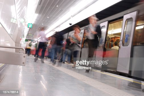 busy people in underground