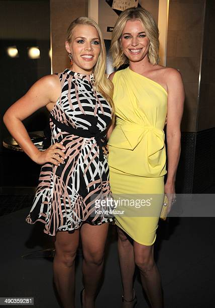 Busy Philipps and Rebecca Romijn attend the TBS / TNT Upfront 2014 at The Theater at Madison Square Garden on May 14 2014 in New York City...
