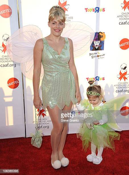 Busy Phillips and Daughter Birdie Leigh Silverstein at Barker Hangar on October 30 2010 in Santa Monica California