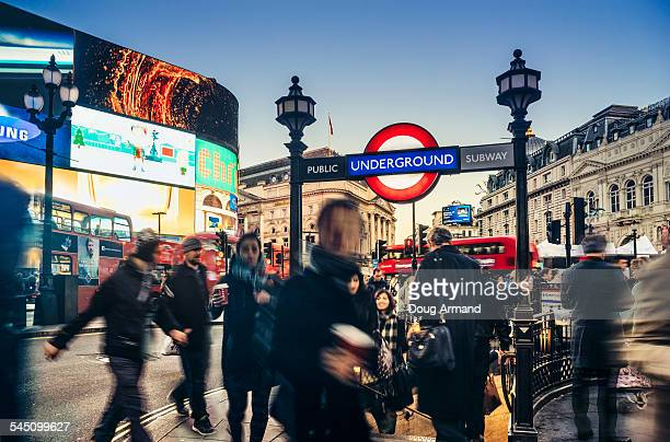 A busy Piccadilly Circus at dusk, London