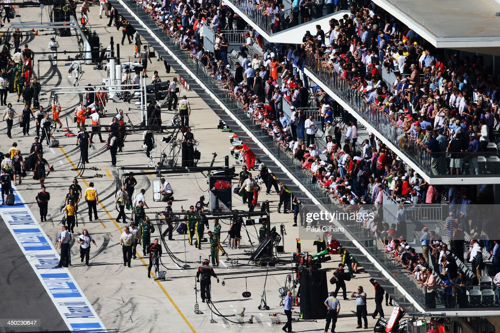 A busy pitlane and paddock club grandstand before the start of the United States Formula One Grand Prix at Circuit of The Americas on November 17...
