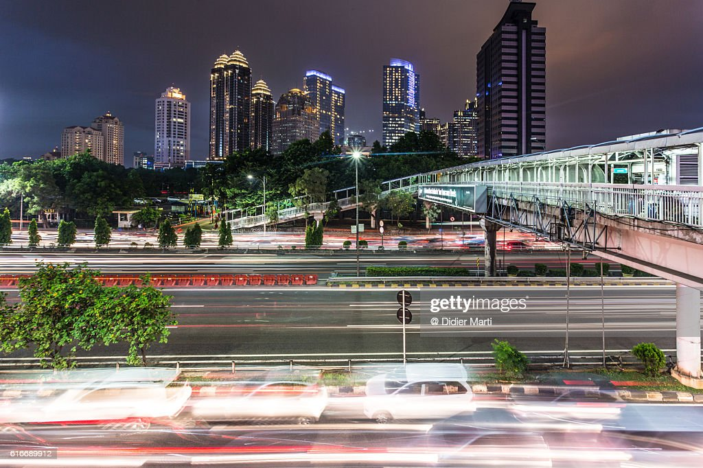Busy road at night in Jakarta, Indonesia capital city : Stock Photo