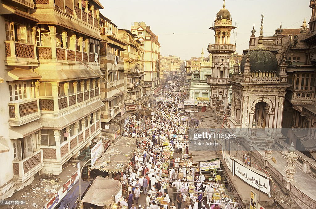 Busy Road With Shops, Bombay, India : Stock Photo