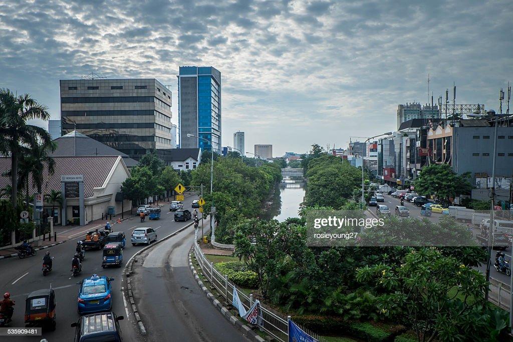 Busy roads in Jakarta : Stock Photo