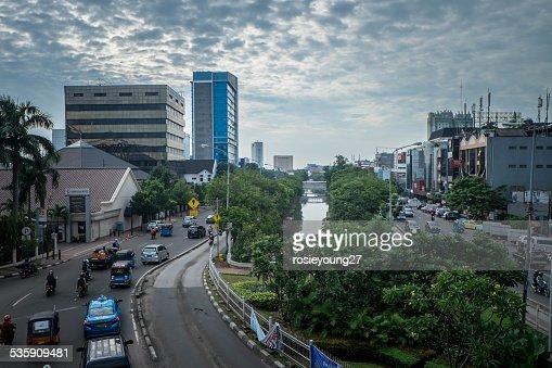 Caminos ocupados de Jakarta : Foto de stock