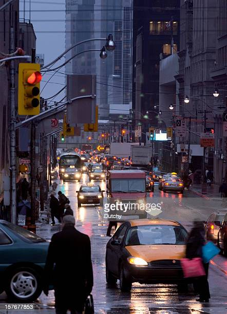 Busy rush hour traffic at Bay Street, Toronto, Canada.