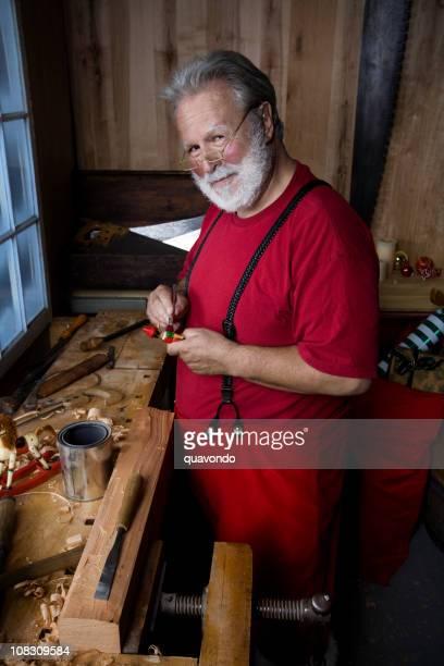 Santa Claus travail en peinture miniature Chrimstas atelier de la caméra