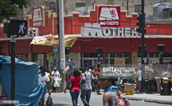 Busy shopping street in downtown Kingston June 28 2012 Jamaica will celebrate its 50th anniversary as an independent state on August 6th 2012 AFP...