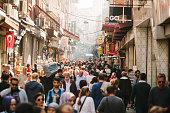 Crowded street in Istanbul, Turkey.
