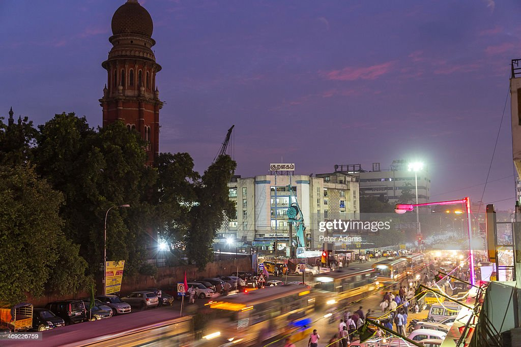 Busy street at dusk outside High Court, Chennai