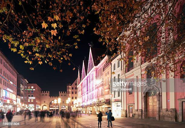 Busy street by Marienplatz, Munich at night