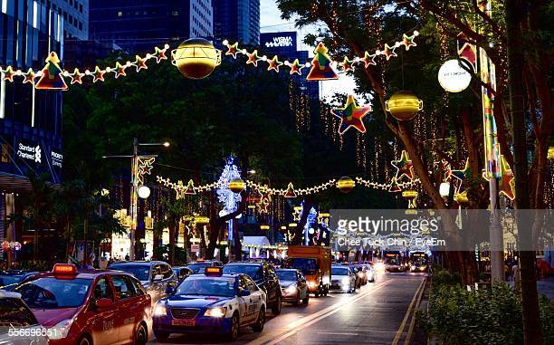 Busy Street In Christmas At Night