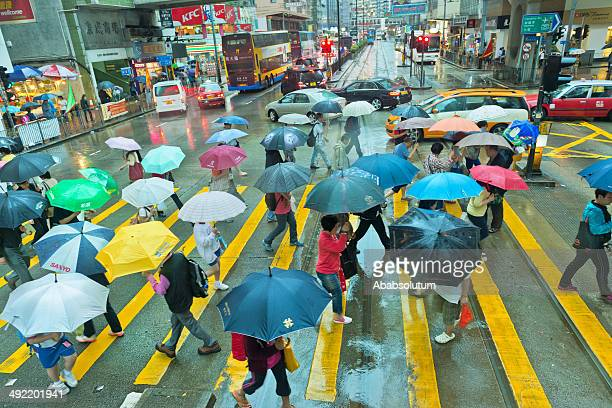 Busy Street in Hong Kong on Rainy Day, Asia