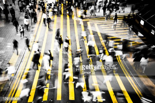 Busy street in Hong Kong : Stock Photo