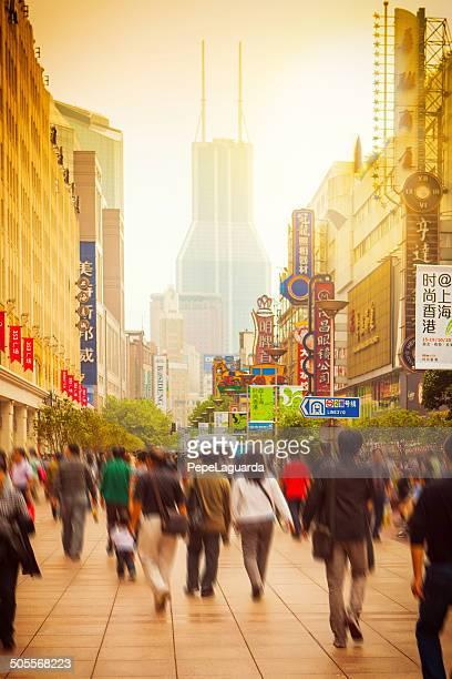 Busy street of Shanghai, China.