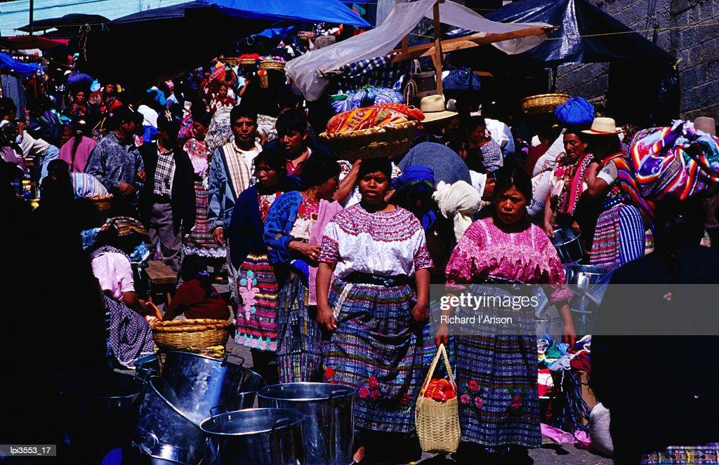 Busy street on Market Day, San Francisco El Alto, Quetzaltenango, Guatemala, Central America & the Caribbean : Stock Photo
