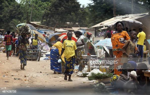 A busy street scene featuring a market as pictured on March 13 2014 in Bangui Central African Republic