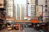 Busy street scene, hong kong, china