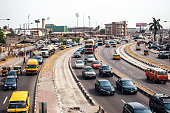 Busy streets of African city.