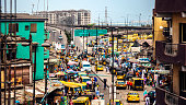 Busy streets of african city. Lagos, Nigeria.