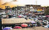 Traffic and street market in Ikorodu district.