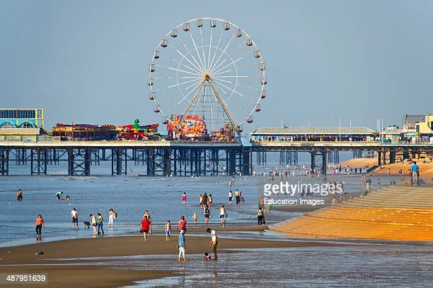 Busy Summer Scene The Central Pier Blackpool Lancashire