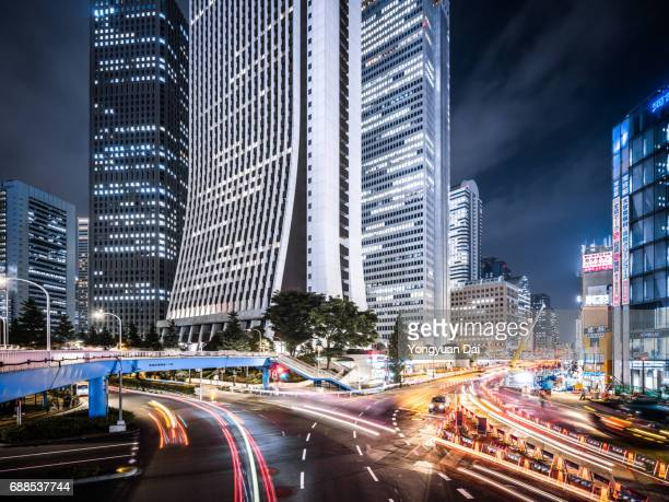 Busy Traffic and Shinjuku Skyscrapers at Night