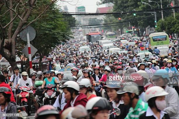 Busy Traffic in Saigon Vietnam
